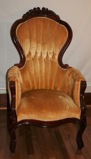 Gold Victorian Velvet Chair