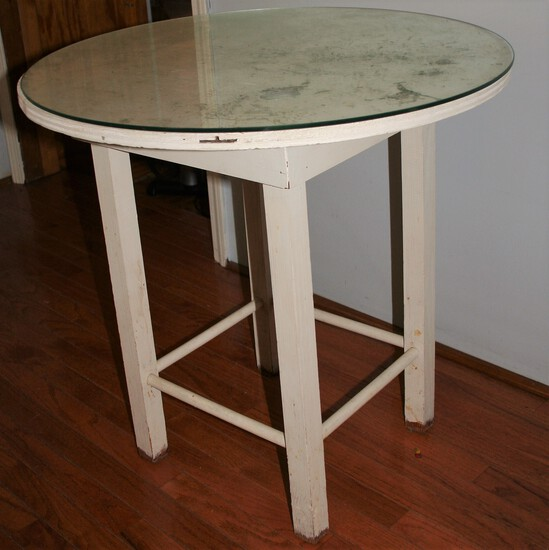 Painted table with glass top