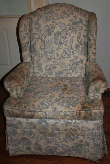 Blue & White Floral Wingback Chair