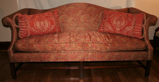 Satin Paisley Couch with pillows