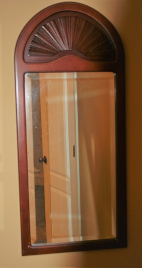 Wooden Cherry Framed Mirror w/Shelled Top