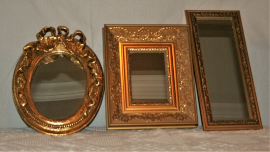 3 PC Gold Framed Mirrors