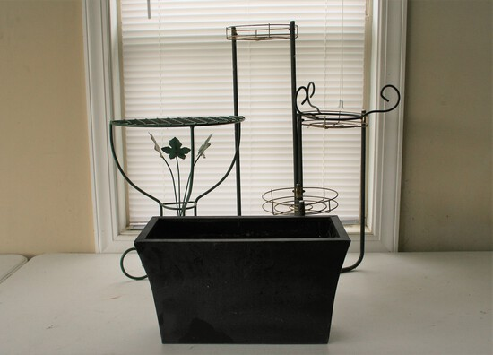 2 Plant Stands and Metal Planter Box