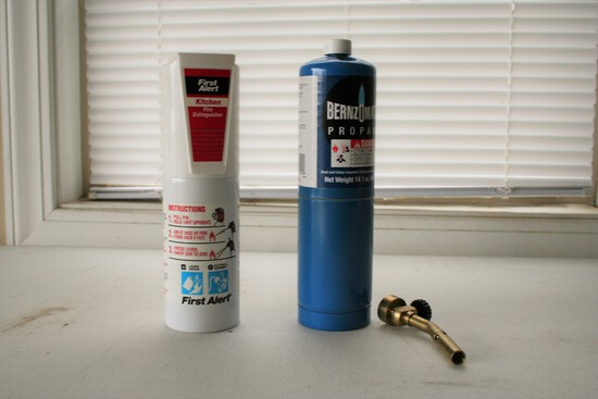 Propane Torch and Kitchen Fire Extinguishers