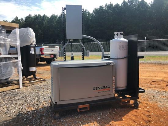 GENERAC 20KW GENSET, PORTABLE CART MOUNTED, 2 PROPANE TANKS, 1 BREAKER PANEL, 4 120 OUTLETS, ITEM