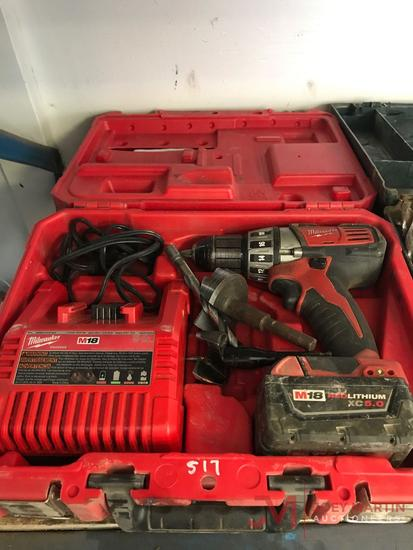 MILWAUKEE M18 RED LITHIUM BATTERY POWERED DRILL, BATTERY, CHARGER AND CASE