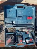 RYOBI BATTERY POWERED DRILL, BATTERY, CHARGER AND CASE