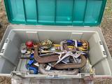 CRATE OF C-CLAMPS AND WELDING SUPPLIES