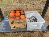 FISHING TACKLE AND BOXES OF SPORTING CLAYS