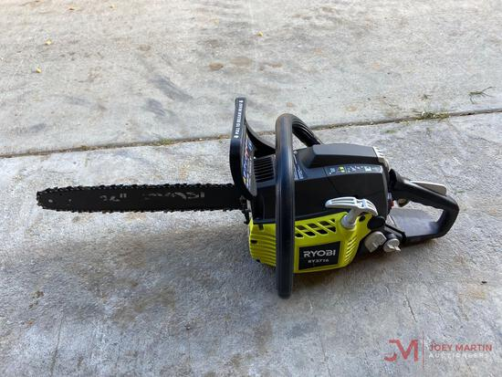 "RYOBI RY3716 CHAIN SAW, GAS POWERED ENGINE, 16"" BAR, PLASTIC CASE"