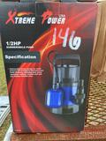 NEW EXTREME POWER SUBMERSIBLE PUMP, 1/2 HP, 1-1/4-1-1/2 DISCHARGE