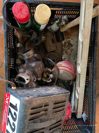 CRATE OF VARIOUS TRACTOR PARTS, LEVEL, BATTERY CHARGER