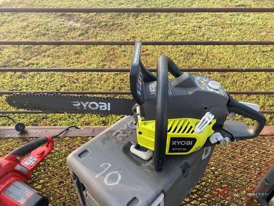 16 INCH RYOBI GAS POWERED CHAIN SAW with hard case MODEL RY3716.