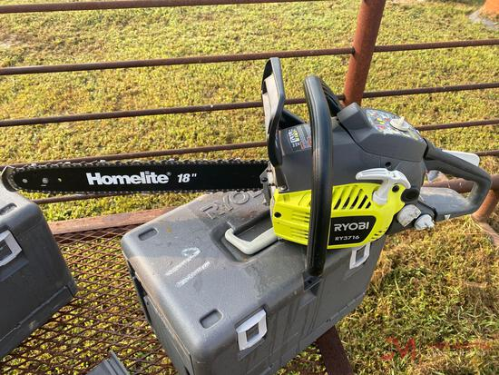 18 INCH RYOBI GAS POWERED CHAIN SAW WITH HARD CASE MODELRY3716
