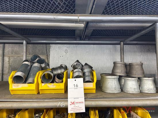 SHELF OF PIPE FITTINGS, PLASTIC CONTAINERS