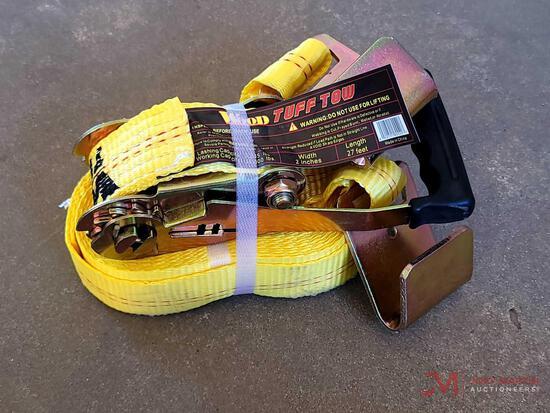 "(1) NEW TUFF TOW 2"" X 27' FLAT HOOK RACHET STRAP"