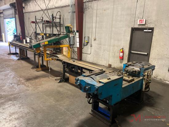 OWATONNA TOOL CO. MODELY-7500 TRACK PRESS MACHINE, SN 1136, 160 TON CAPACITY, 22? CONVEYOR, ALL TOOL
