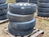 295/75 R22.5 TIRE WITH ALUMINUM WHEEL, 3 TIRES WITH WHEELS