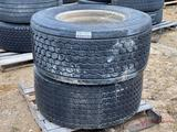 2 445/50 22.5 TIRES WITH ALUMINUM WHEELS