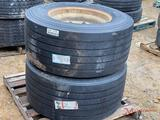 2 MICHELIN 445/50 22.5 TIRES WITH ALUMINUM WHEELS
