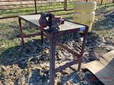 5' METAL SHOP TABLE WITH VISE