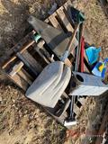 SHOVEL, PIPE WRENCH, (3) HAMMERS