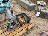 VARIOUS COMPRESSED GAS TANKS, ROLLING METAL CART