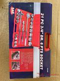 NEW 21PC 3/4IN DRIVE 6 POINT SOCKET SET