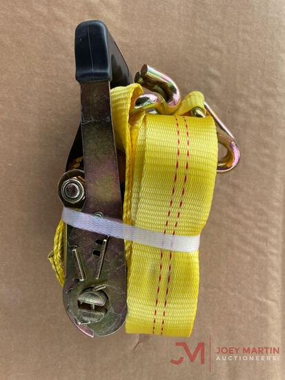 (1) NEW 27FT X 2IN RATCHET STRAP WITH J HOOKS