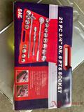 NEW 21 PC 3/4IN DRIVE 6POINT SOCKET SET, SAE