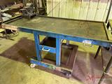 66IN HEAVY DUTY ROLLING SHOP TABLE WITH DRAWERS AND VISE