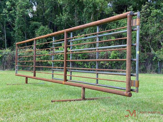 (1) NEW 24FT FREE STANDING 8 BAR PANEL W/ 12FT SWING GATE