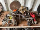 HYDRAULIC BOTTLE JACK, 200' TAPE, SCRAPERS, CHALK LINES, VARIOUS TOOLS