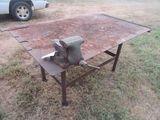 (5565) 4' x 6' Steel Work Table w/ Wilton Vise