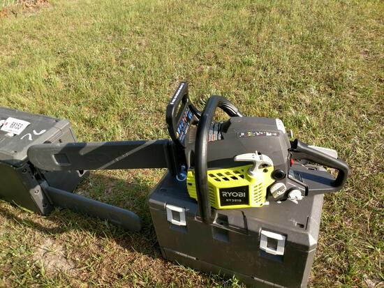 ABSOLUTE ALMOST NEW RYOBI RY3818 CHAIN SAW WITH