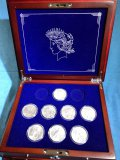 US Peace Uncirculated Silver Dollar Collection set