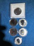 (5) Canadian $5 1 oz silver coins & (1) $10 coin