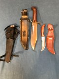 (3) knives: Tramontina Brazilian hunting knife, Bowie knife (Pakistan), Play Right diving knife