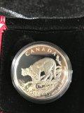 2014 $20 Royal Candian Mint Cougar Atop a Mountain, fine silver coin
