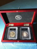 1971-S Eisenhower silver dollar box set, one uncirculated, one proof