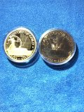 (2) US History of Gold medallions, gold plated copper coins
