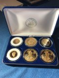 Set of 6 gold plated coins