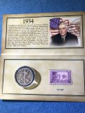 1934 Walking Liberty half dollar and Wisconsin 3 cent stamp set