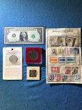 Confederate half dollar restrike, nudie heads/ tails coin, Elizabeth II comm. Medal, 1963 crisp $1
