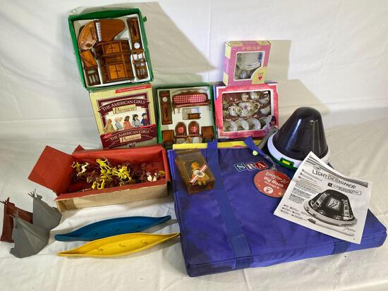 American Girls club membership kit, doll house furniture, plastic Indian set, SRA big book, Crayola