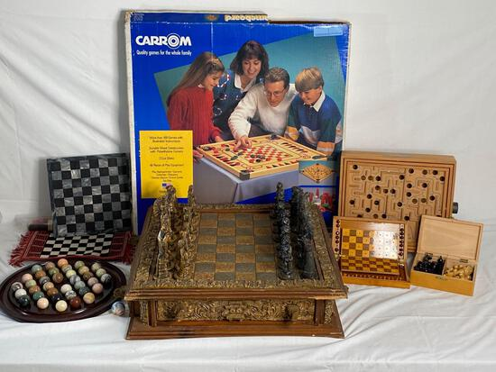 Mexican chess set, Onyx chess board & stone solitaire marble game, Carrom & wool rug game boards