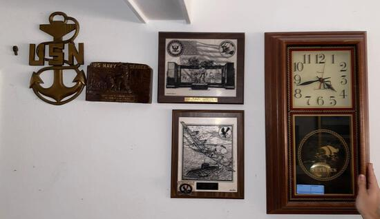 Metal Navy insignia, (2) Navy Seabee plaque, PRO'S NEST plaque, Hanover wall clock and badge