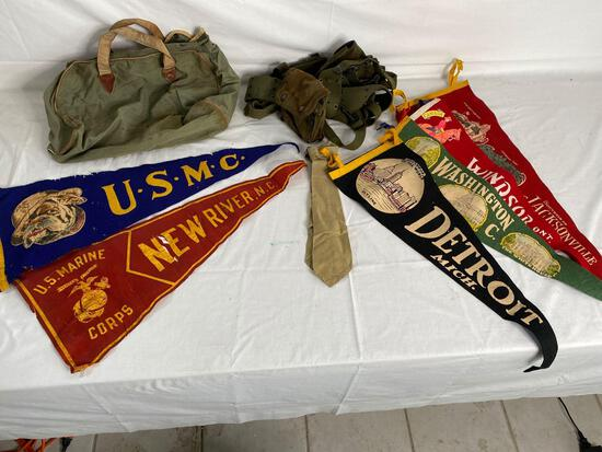 Paratrooper belt, military bag, tie and US Marine and other pennants, Korean paperweight