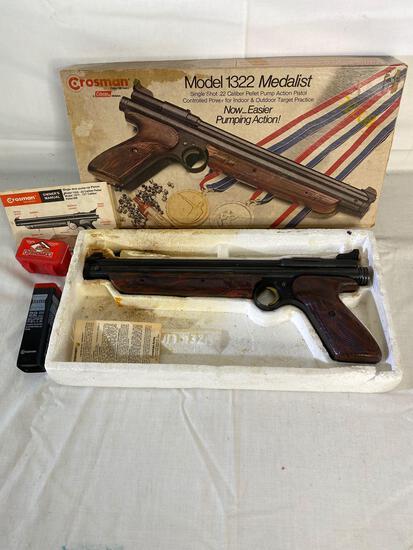 Crosman 1322 Medalist single shot .22 pellet pump action pistol