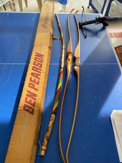 (2) Ben Pearson recurve bows, arrows, Hou Shiueh crossbow, boomerang